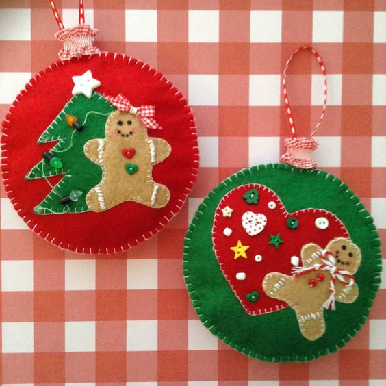 Gingerbread Felt Ornaments / Christmas Tree Ornaments / Gingerbread