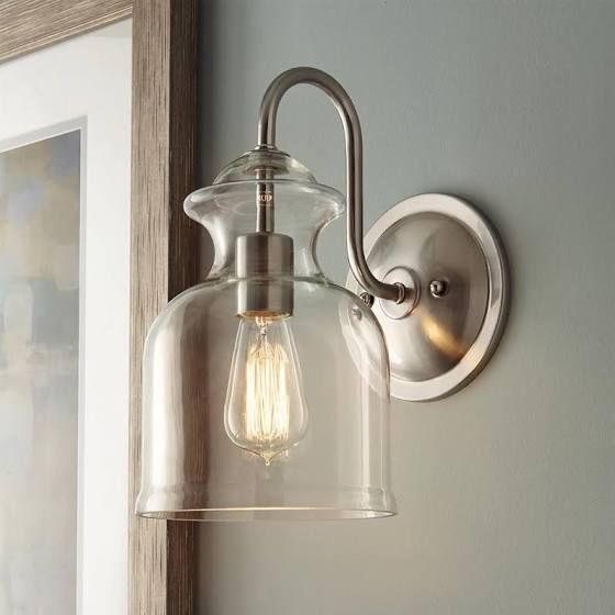 Home Decorators Collection Garridan 1 Light Brushed Nickel Wall Sconce With Clear Glass Shade Google Shop In 2020 Wall Mount Light Fixture Wall Mounted Light Sconces