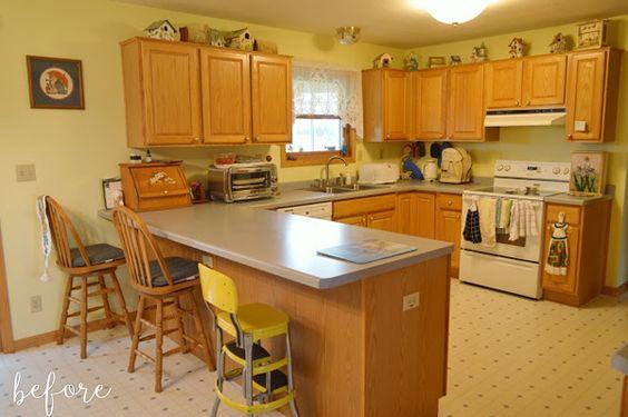oak kitchen cabinets before makeover