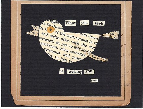 bird and rumi quote from vintage book paper...