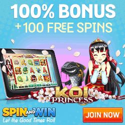 Get 100 FREE spins and your 1st deposit doubled with our Spin and Win promo code.