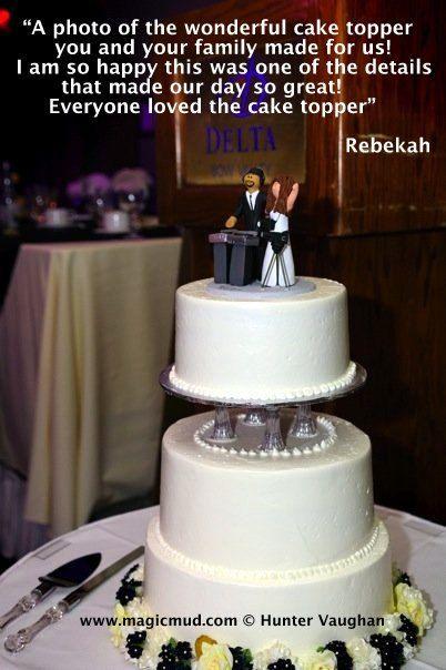 Hispanic DJ Interracial Wedding Cake Topper      Wedding Cake Topper for a DJ, custom created for you! Perfect for the marriage of a Disc Jockey Groom and his Bride!    $235   #magicmud   1 800 231 9814   www.magicmud.com