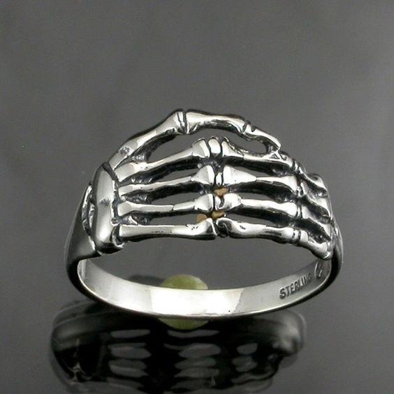 Sterling Silver Skeleton Hand Ring by JewelerJim on Etsy, $21.00