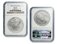 2007 MS70 NGC Silver American Eagle - For more information: Visit https://www.shopnumis.com/Order.asp?InvDispCatID=11=37167 or http://www.numisnetwork.com/buygoldcoins