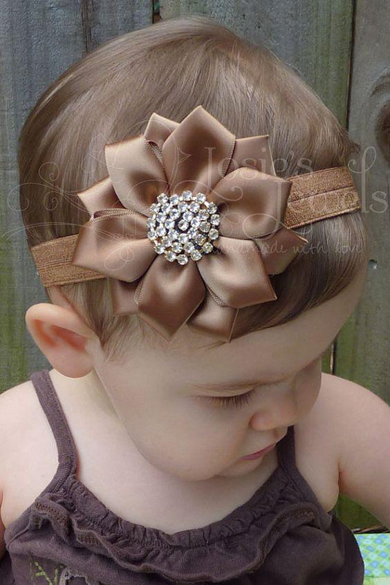 Mocha Brown Satin Flower Infant Toddler by JosiesJewels2011, $12.99