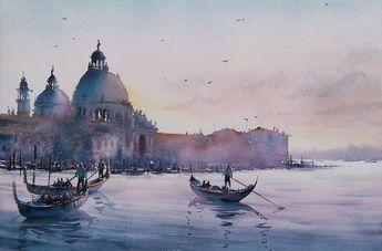 Venise Thierry De Marichalar Paysage Aquarelle Venise