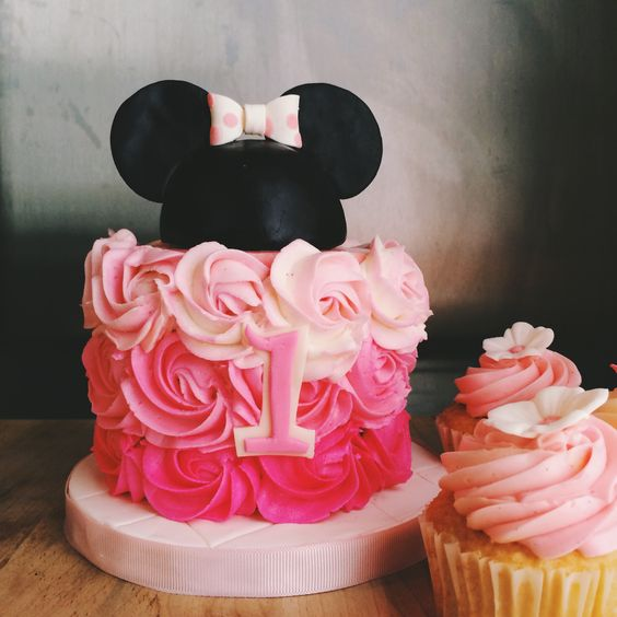 Minnie Mouse pink ombré funfetti smash cake with rosettes ...