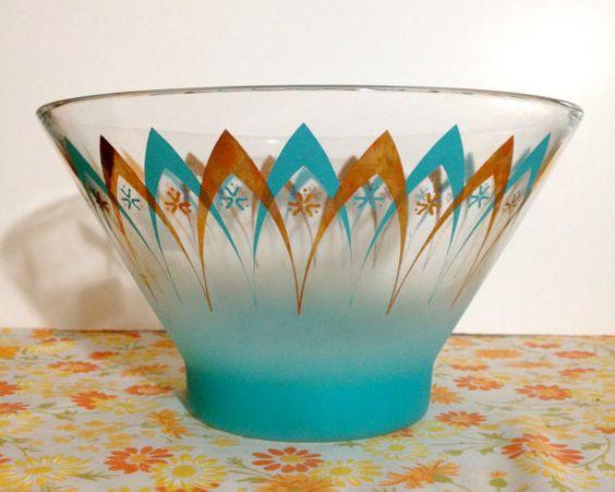 Atomic Mid Century Aqua & Gold Punch Bowl by NWoodsVintage on Etsy, $20.00 #vintage #party #midcentury #punch