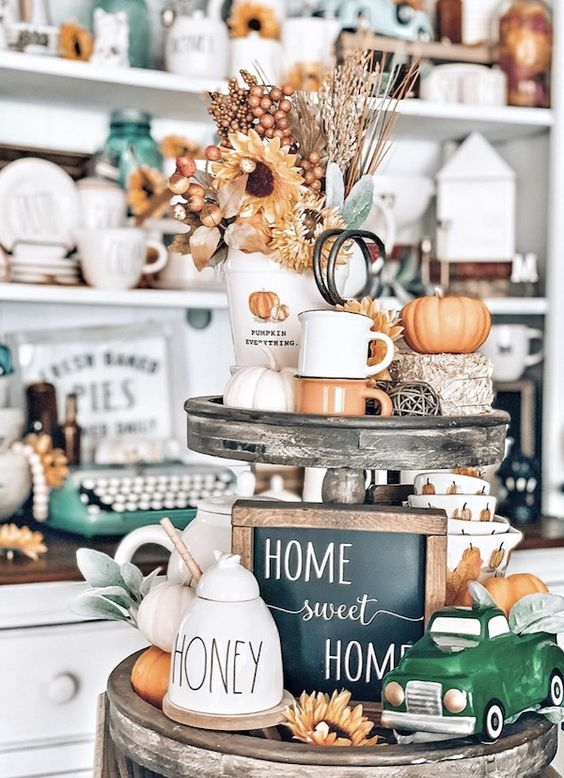 Get some inspiration for decorating your Fall tiered tray. From farmhouse fall tiered tray decor ideas to rustic fall tiered trays, there are plenty of fall decorations for your tiered tray to choose from