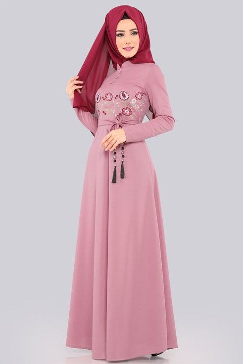 Modaselvim Elbise Nakisli Tesettur Elbise 552 L263 S Lila Elbise Kiyafet Giyim