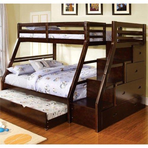 Furniture Of America Dannick Twin Over Full Storage Bunk Bed In Walnut Dengan Gambar Tempat Tidur Loteng Tempat Tidur Tingkat Tempat Tidur Laci
