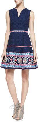 Shoshanna Sleeveless Embroidered-Hem Dress on shopstyle.com