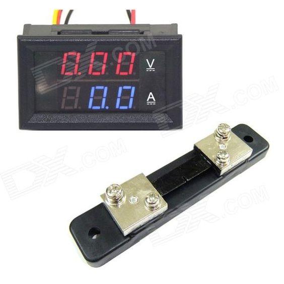 Mini Digital Azul + Rojo LED Corriente DC voltímetro del metro w / Ampere Shunt - sin Gastos de Envío - DealExtreme