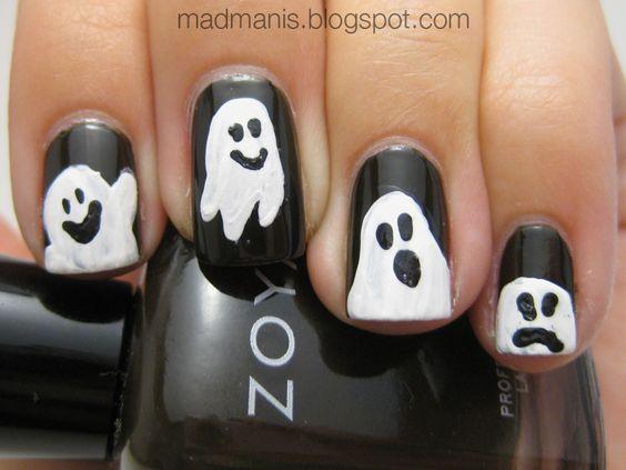 Halloween Ghost Nail Art - YouTube