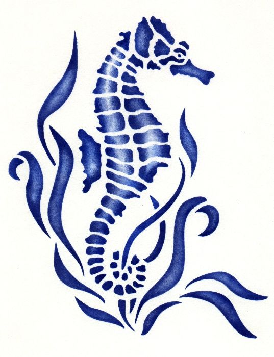 Free seahorse stencil stencils pinterest stencils for Cavalluccio marino maori