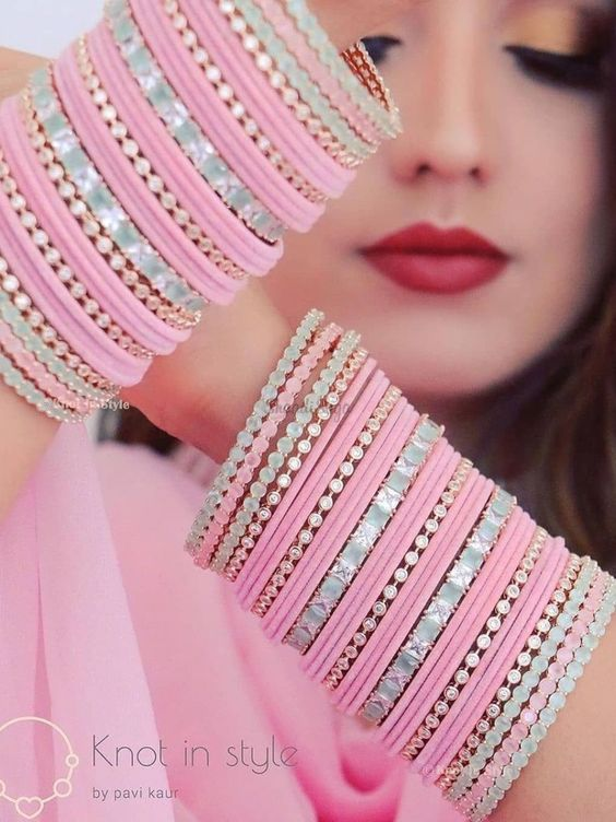 If you are someone who wants to wear a traditional chooda but not the classic red, then check out these Pink Bridal Choodas which are trendy and would make your look exceptionally pretty!! #indianweddings #shaadisaga #intimatewedding #indianbrides #chooda #indianbridalaccessories #bangles #weddingchooda #bridalfashion