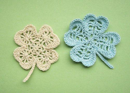 Free Crochet Pattern For 3 Leaf Clover : Lacy Clover .. http://www.pinterest.com/divinamedia/st ...