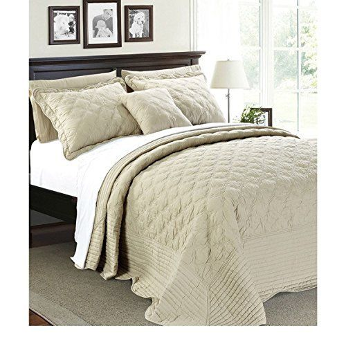 4pc 110 X 120 Natural Cream Oversized Bedspread Queen Floor Set Quatrefoil Cotton Polyester Extra Long Quilt Bedding Dro Quilt Bedding Bed Spreads Bedding Sets