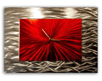 unique kitchen clock   Red Decorative Wall Clock 'Red Modular' - 18x12 in. - Abstract Home ...