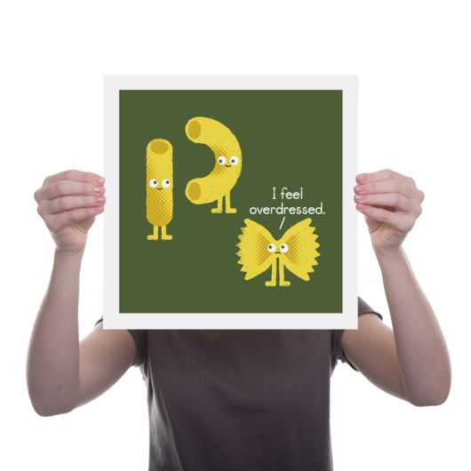 Quirky Illustrated Gifts   Pasta Party Print   David Olenick   New   Prints   Homeware   Ohh Deer £20