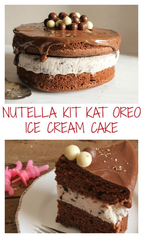 and easy Homemade ice cream birthday cake. Delicious Nutella and Oreo ...