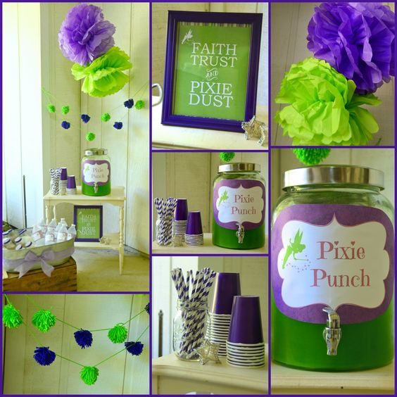 "Tinker Bell Party, purple & green, Pixie Punch, fairly party, ""Faith, Trust, & Pixie Dust"":"