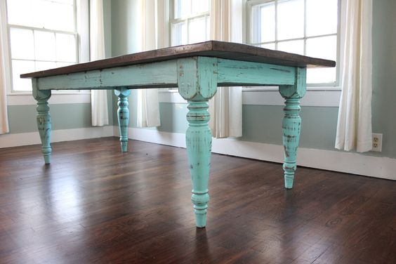 Turquoise farm table teal paint refinished table and for Teal kitchen table