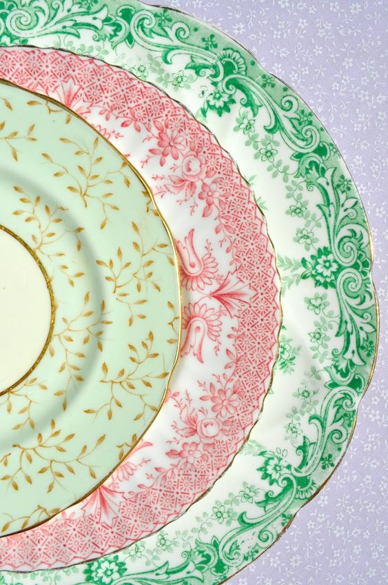 : Mix and Match Fine China Choose two colors and collect various size plates to stack for interest