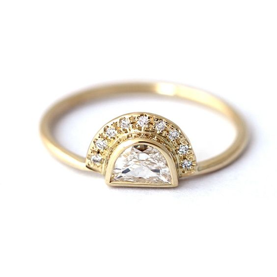 Semi circle diamond gold engagement ring