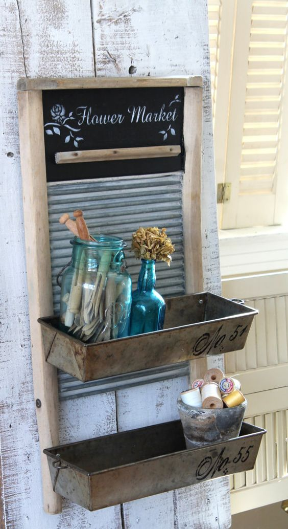 Vintage Wash Board With Bins Organizer Rustic Farmhouse Stylewall Decor Upcycled Hand Painted