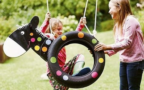 The Hit In The Garden With This Pony Swing From An Old Car Tire You Will Garden Swing Diy For Kids Diy Garden Backyard Decor