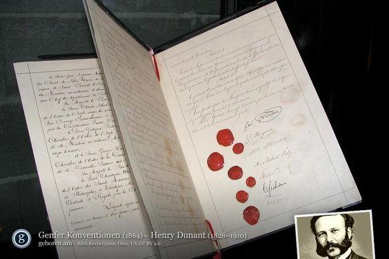 8. Mai: Heute vor 185 Jahren wurde Henry Dunant geboren. Der Schweizer Geschäftsmann wurde 1859 Zeuge, wie in der Schlacht von Solferino an nur einem Tag rund 6.000 Soldaten starben und 25.000 verwundet wurden, woraufhin er Ideen für internationale Hilfsorganisationen und Verträge zum Umgang mit Kriegsgefangenen entwickelte. 1863 begründete er die Internationale Rotkreuz-Bewegung. 1901 wurde Dunant mit dem ersten Friedensnobelpreis ausgezeichnet.
