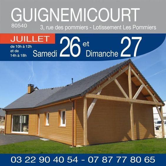 """#MaMaisonBois vous invite au lotissement """"Les Pommiers"""", 3 rue des Pommiers à GUIGNEMICOURT (80540) ! Venez visiter une maison à ossature bois de plain pied d'une surface de 115m² sur sous sol complet avec 3 chambres, chauffage par aérothermie et plancher chauffant. Horaires: 10h/12h - 14h/18h  http://www.mamaisonconstructionbois.fr/share-361"""