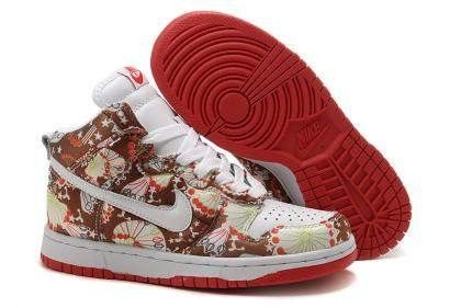 the latest 6fac9 674eb Nike Dunk High Sun Flower Women Shoes Brown White Red