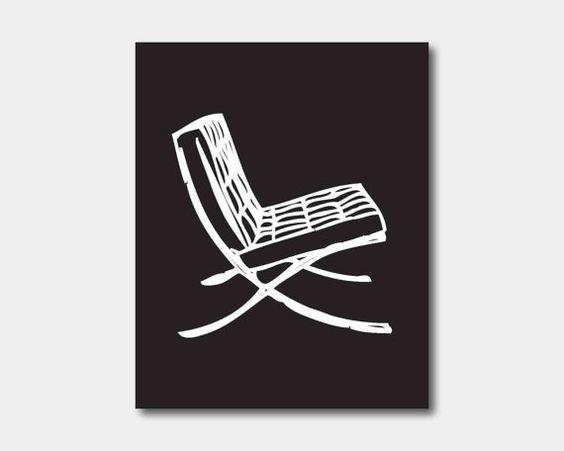 Modern Art  Barcelona Chair Silhouette Ludwig Mies Van Der Rohe 8 X 10
