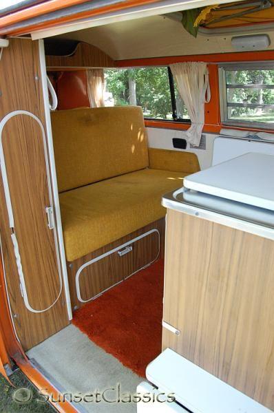 1973 vw westy campmobile mustard interior cream curtains for Interior westfalia