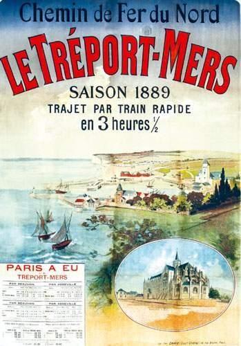 chemins de fer du nord - Le Tréport-Mers - saison 1889 - Paris à Eu -