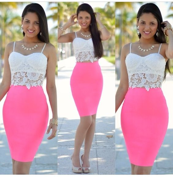 Hot pink pencil skirt with white lace crop top. Sexy and classy ...