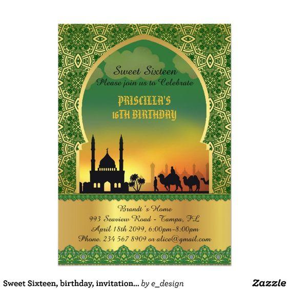 Sweet Sixteen, birthday, invitation, Arabian night Card