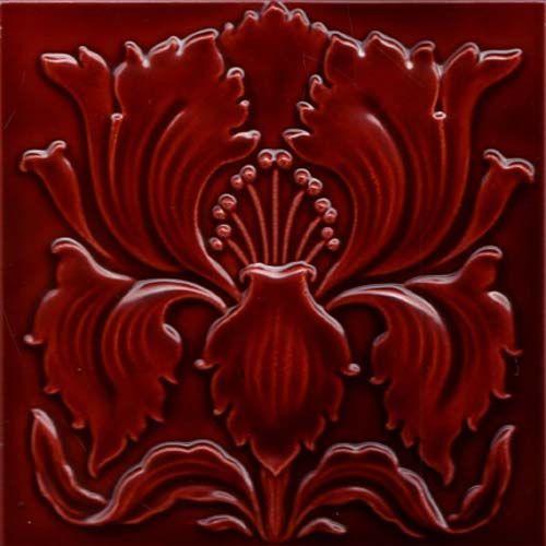 ¤ Utzschneider & Co. Saargemünd/Sarreguemines, Lothringen, um 1900. Art Nouveau Tile. carreau motif floral rouge profond