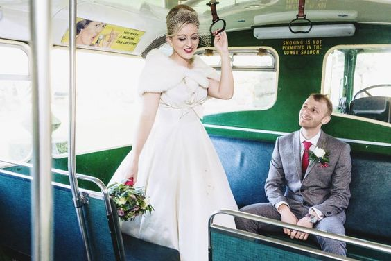 1950's wedding. Old green bus