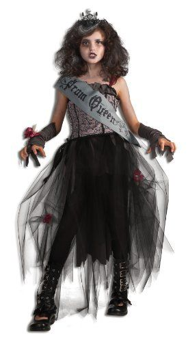 Rubie's Deluxe Goth Prom Queen Costume Rubie's Costume Co. $24.99. Rubie's brings fun to dress-up with costumes and accessories kids play with all year long. Deluxe costume is available in children's sizes small, medium, and large. Shoes not included. Gray and black Sash reads: Prom Queen. Costume includes dress, sash, glovelettes, wrist corsage, and tiara