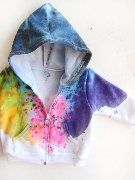 """The Original """"Splash Dyed"""" Hand PAINTED Fleece Zip Hoodie Sweatshirt in Spectrum Rainbow - Unisex Baby - 3-6 6-12 12-18 18-24"""