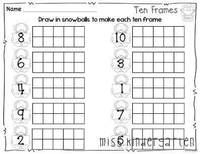 snowball ten frames from miss kindergarten winter print and go math pinterest. Black Bedroom Furniture Sets. Home Design Ideas