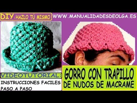COMO HACER UN GORRO DE TRAPILLO CON NUDOS DE MACRAME TUTORIAL DIY - YouTube