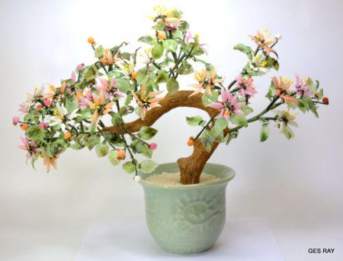 Vintage 6 Jade Bonsai Tree Cherry Blossom Rose Quartz Glass Celadon Pot Jade Tree Asian Home Decor Antique Vintage Decor