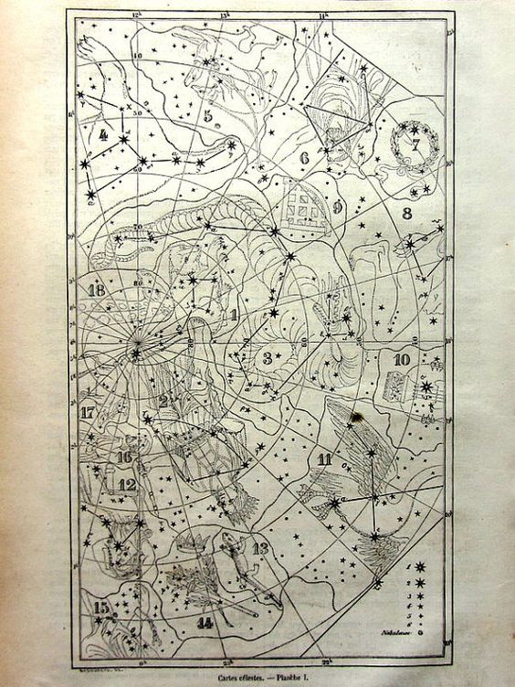 1865 antique constellation chart print, original vintage star map plate, sky heavens cosmos engraving, astronomy astrology map illustration....
