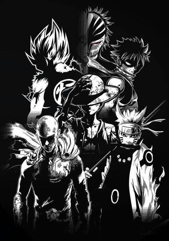 Naruto Saitama Luffy Natsu Goku Et Kurosaki Naruto Shippuden One Punch Man One Piece Fairy Tail Dragon Ball Et B Gambar Anime Ilustrasi Ilustrasi 3d