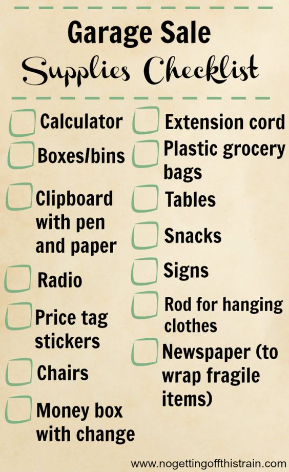 Here's a handy supplies checklist for your next garage sale! Click to read 24 tips for a more successful garage sale. www.nogettingoffthistrain.com