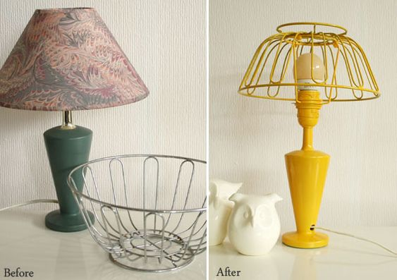 byWilma shows how she used an old lamp and a wire fruit basket